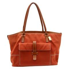 Loro Piana Orange Leather-Trimmed Tote