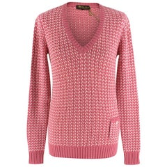 Loro Piana Pink & White Knit Cashmere Sweater - Size US 8