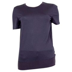 LORO PIANA purple cashmere & silk Short Sleeve Sweater 42 M