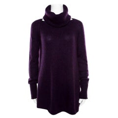 Loro Piana Purple Cashmere Sweater and Infinity Scarf Set S
