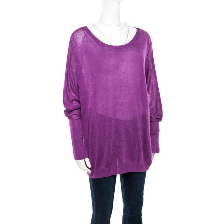 Loro Piana Purple Linen and Silk Sweater M In Good Condition For Sale In Dubai, Al Qouz 2