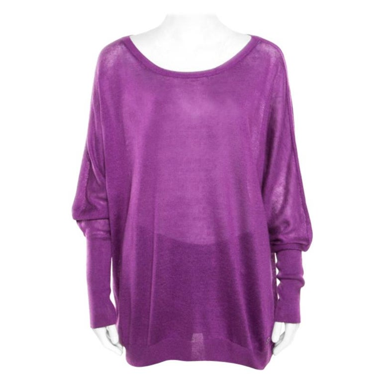 Loro Piana Purple Linen and Silk Sweater M For Sale