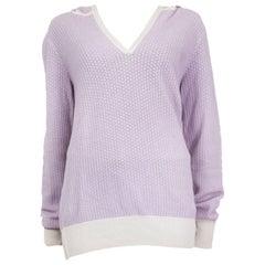 LORO PIANA purple white cashmere HOODED V-NECK Sweater 46 XL