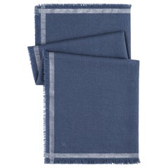 "LORO PIANA ""Quadrata Carre"" Blue Silver Silk Cashmere Fringe Knit Travel Scarf"