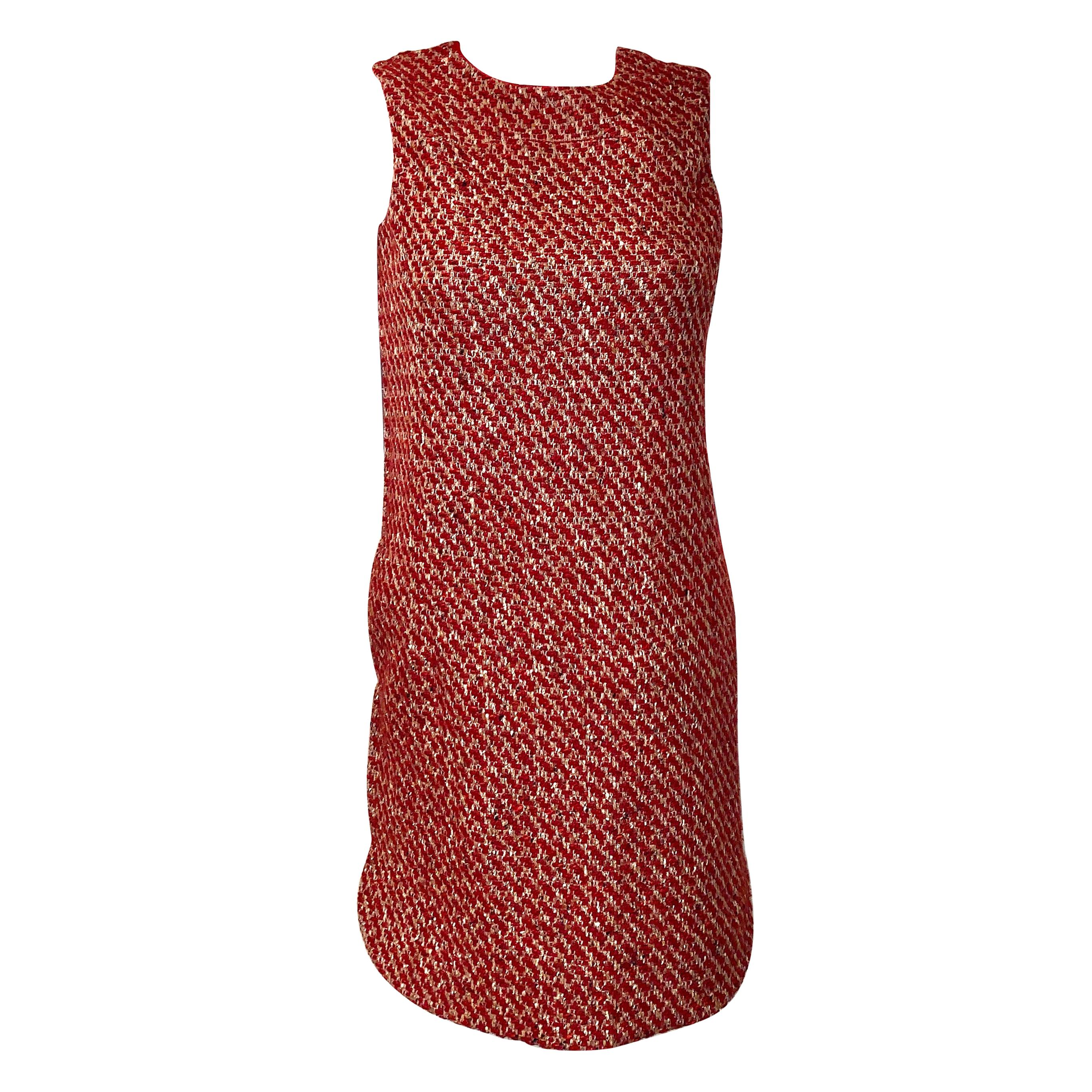 Loro Piana Red Cashmere and Tweed Shift Dress NBW