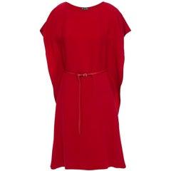 LORO PIANA red silk cady JO Belted Shift Dress S