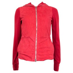 LORO PIANA red suede & cashmere HOODED ZIP-FRONT Jacket 38 XS