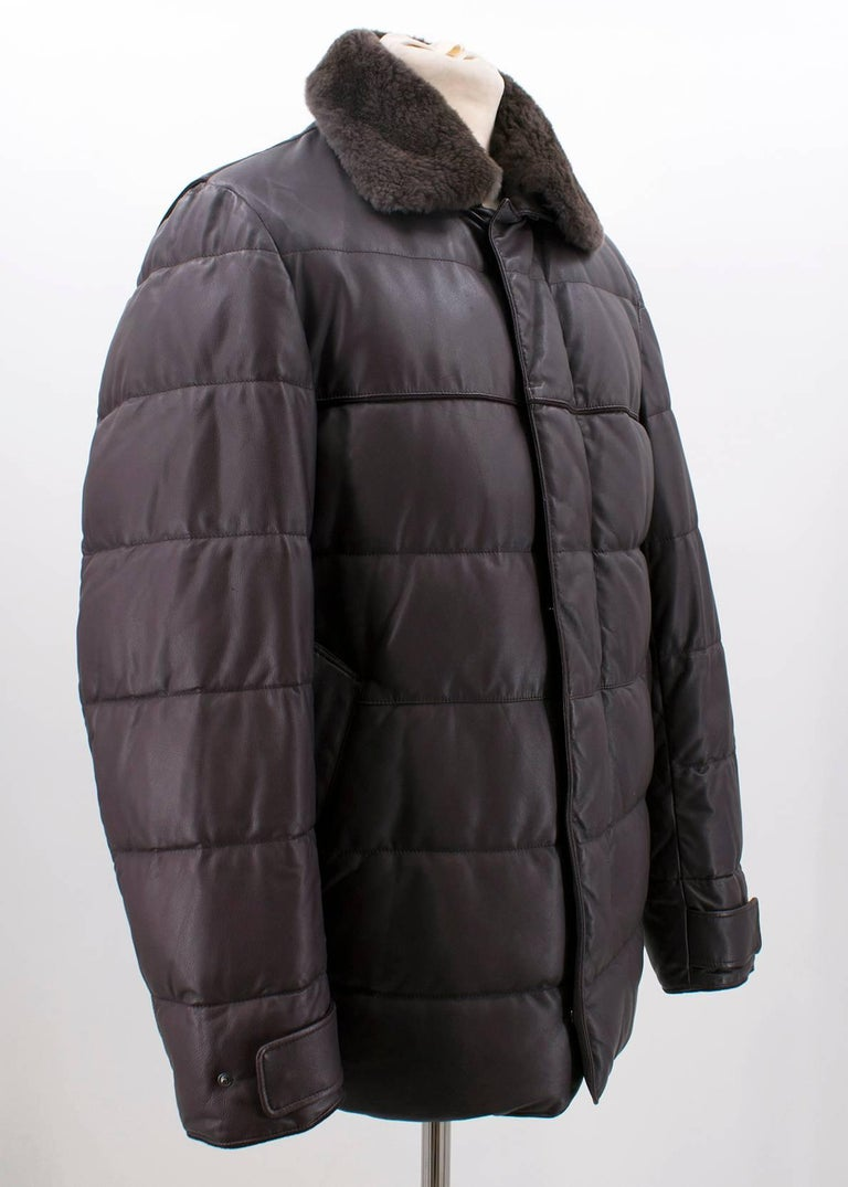 Black Loro Piana Reindeer Fur Collar Quilted Leather Jacket US 6 For Sale