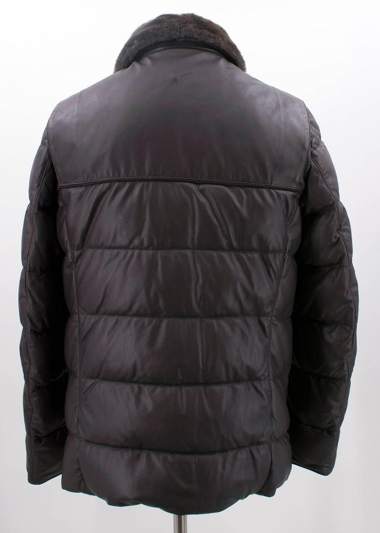 Loro Piana Reindeer Fur Collar Quilted Leather Jacket US 6 In Excellent Condition For Sale In London, GB