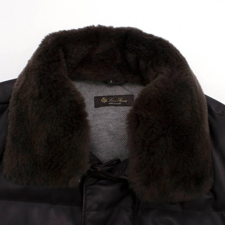 Men's Loro Piana Reindeer Fur Collar Quilted Leather Jacket US 6 For Sale