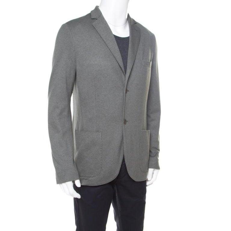 Gray Loro Piana Sage Green Cashmere Silk Piqué Knit Sweater Jacket XL For Sale