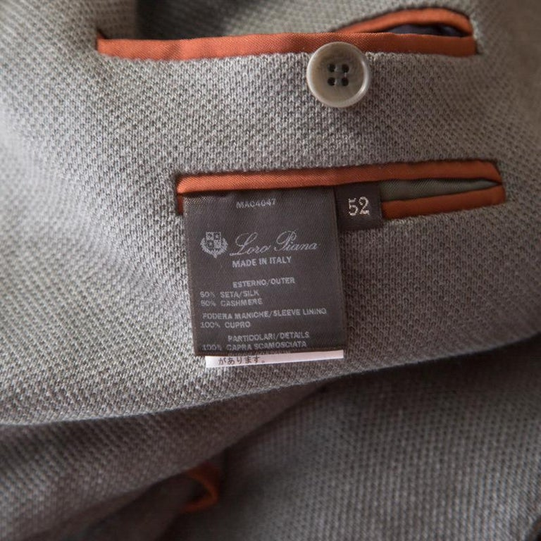 Loro Piana Sage Green Cashmere Silk Piqué Knit Sweater Jacket XL In Excellent Condition For Sale In Dubai, AE