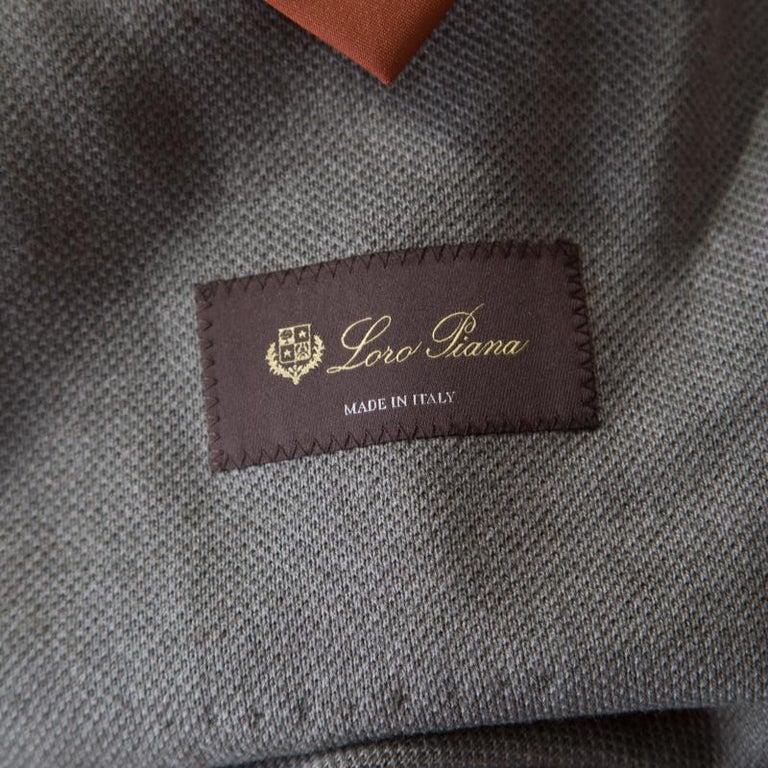 Men's Loro Piana Sage Green Cashmere Silk Piqué Knit Sweater Jacket XL For Sale