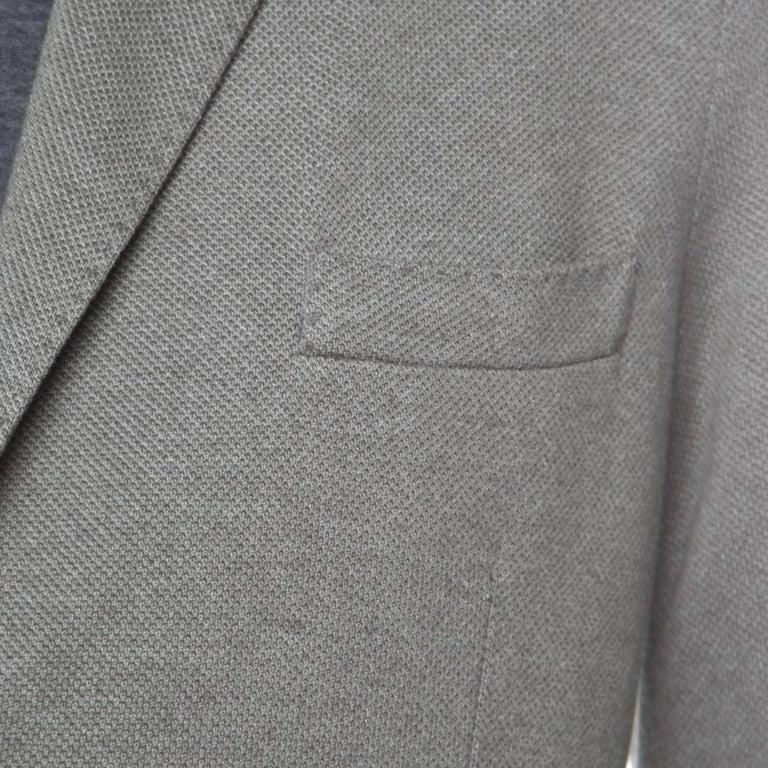 Loro Piana Sage Green Cashmere Silk Piqué Knit Sweater Jacket XL For Sale 1
