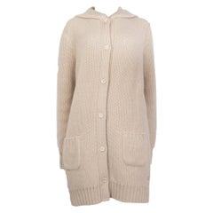LORO PIANA sand beige cashmere HOODED KNIT Coat Jacket 46 XL