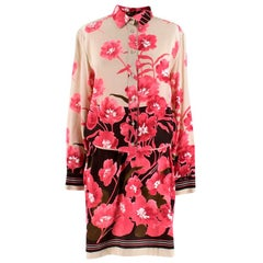 Loro Piana Silk Floral Print Belted Shirt Dress M 44