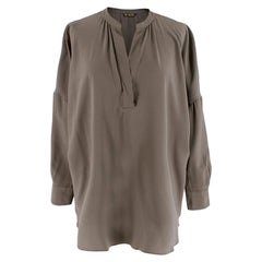 Loro Piana Silk Grey Long Sleeve Blouse M 44