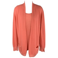 LORO PIANA Size 10 Coral Pink Cashmere Blend Cardigan Vest Set