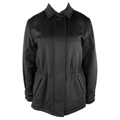 LORO PIANA Size 12 Black Cashmere STORM SYSTEM Drawstring Jacket