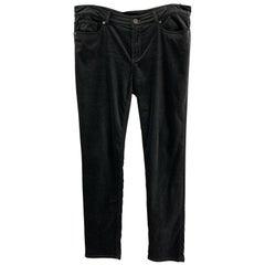 LORO PIANA Size 12 Black Cotton / Elastane Zip Fly Dress Pants