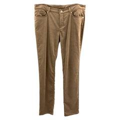 LORO PIANA Size 12 Taupe Cotton / Elastane Dress Pants