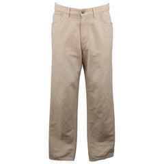 LORO PIANA Size 32 Khaki Solid Cotton & Linen Jeans
