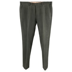 LORO PIANA Size 34 Charcoal Solid Cotton Zip Fly Casual Pants