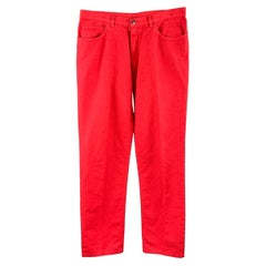 LORO PIANA Size 36 Red Solid Cotton / Flax Zip Fly Casual Pants