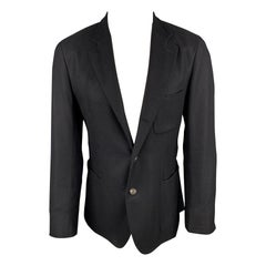 LORO PIANA Size 38 Black Cashmere Notch Lapel Sport Coat