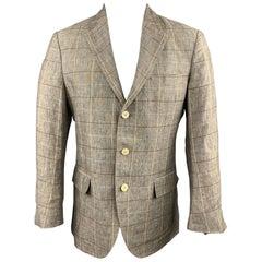 LORO PIANA Size 38 Taupe Window Pane Linen Notch Lapel Sport Coat