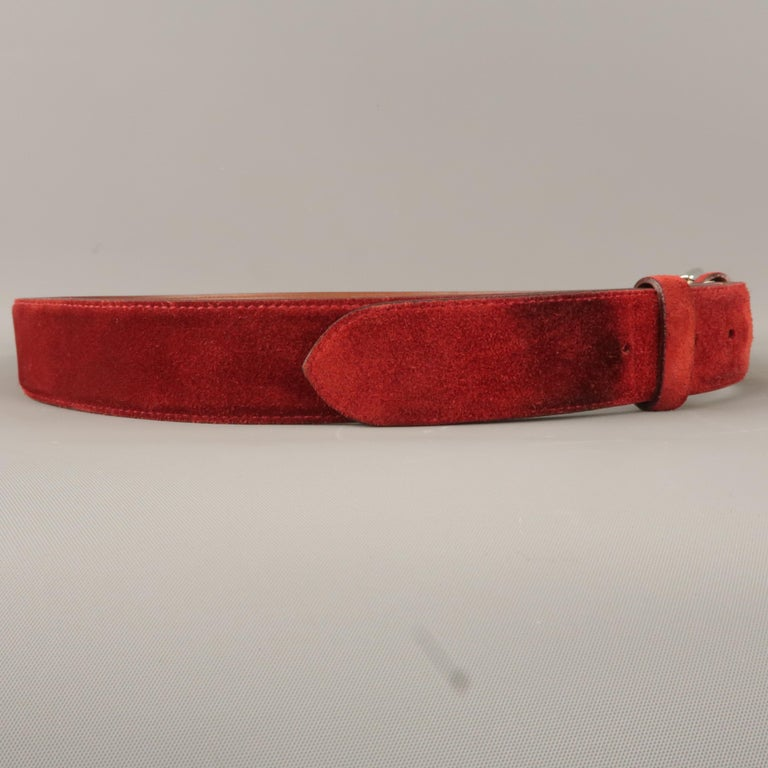 Red LORO PIANA Size 42 Maroon Suede Belt For Sale