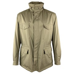 LORO PIANA Size 42 Olive Storm System Zip & Snaps Zip Hood Jacket
