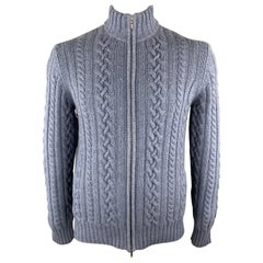 LORO PIANA Size L Blue Cable Knit Cashmere High Collar Zip Up Cardigan Sweater