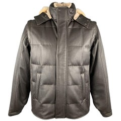 LORO PIANA Size L Brown Leather Quilted Cashmere Lining Zip & Buttons Jacket