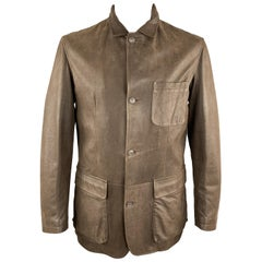 LORO PIANA Size L Brown Solid Cashmere Lining Buttoned Leather Jacket