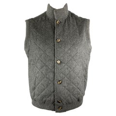 LORO PIANA Size L Dark Gray Quilted Cashmere High Collar Buttoned Vest