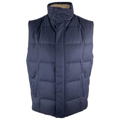 LORO PIANA Size L Navy Quilted Baby Cashmere High Collar Zip & Snaps Vest