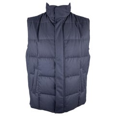 LORO PIANA Size L Navy Quilted BABY CASHMERE Storm System Down Vest
