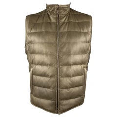 LORO PIANA Size L Olive Quilted Leather Zip Down Padded Vest