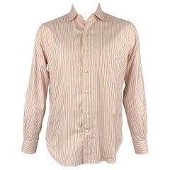 LORO PIANA Size L Purple & Orange Stripe Cotton Button Up Long Sleeve Shirt