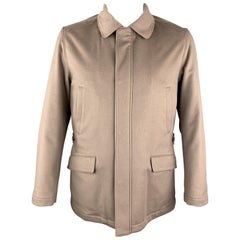 LORO PIANA Size L Taupe Cashmere Zip & Snaps STORM SYSTEM Jacket