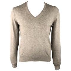 LORO PIANA Size M Gray Solid Cashmere / Silk V-Neck Sweater