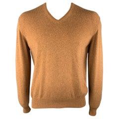 LORO PIANA Size M Tan Solid Cashmere V-Neck Sweater