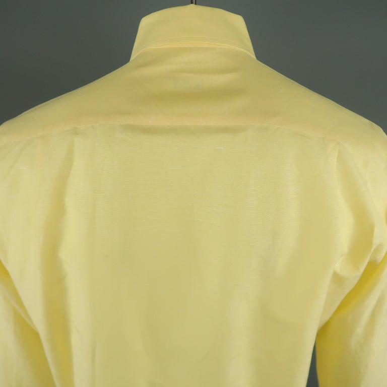 LORO PIANA Size M Yellow Linen / Cotton Long Sleeve Shirt In Excellent Condition For Sale In San Francisco, CA