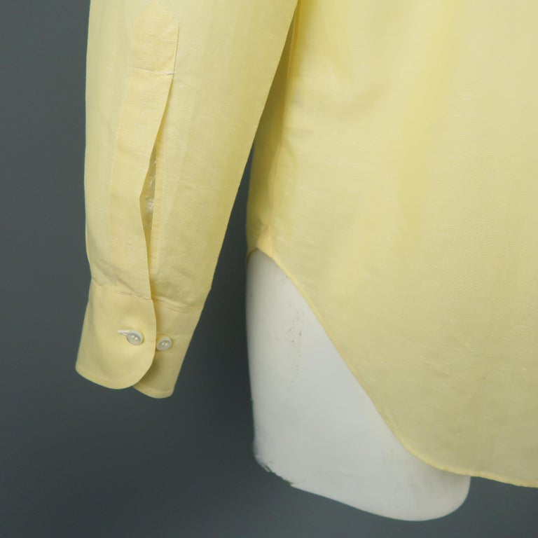 Men's LORO PIANA Size M Yellow Linen / Cotton Long Sleeve Shirt For Sale