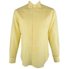 LORO PIANA Size M Yellow Linen / Cotton Long Sleeve Shirt