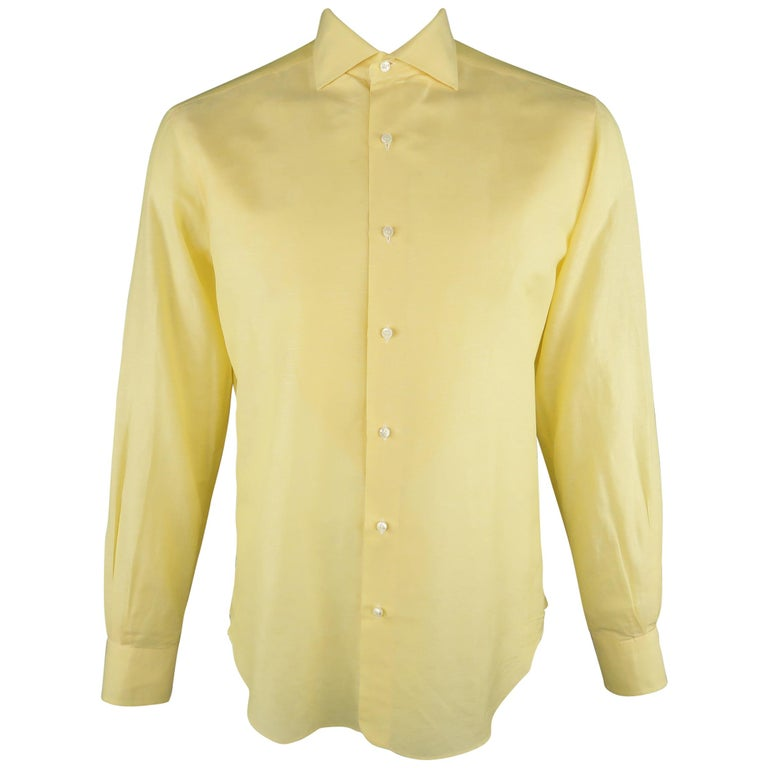 LORO PIANA Size M Yellow Linen / Cotton Long Sleeve Shirt For Sale