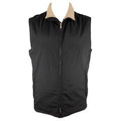 LORO PIANA Size XL Black Cashmere Lined TWENTY K Storm System Zip Up Vest