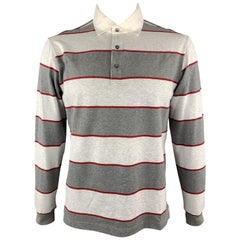 LORO PIANA Size XL Grey Stripe Cotton Buttoned Long Sleeve POLO
