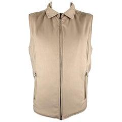 LORO PIANA Size XL Oatmeal Beige Cashmere Zip Up Storm System Vest